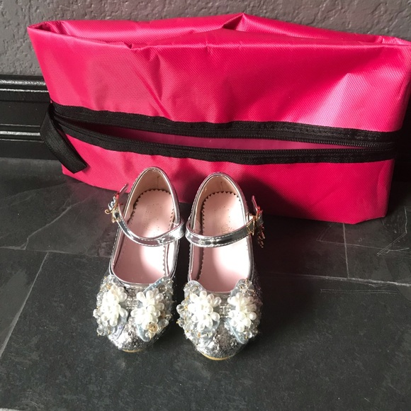 Toddler girl glitter sequins party shoes